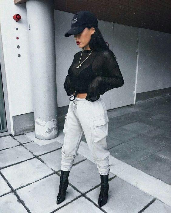 Crop top hip hop outfits
