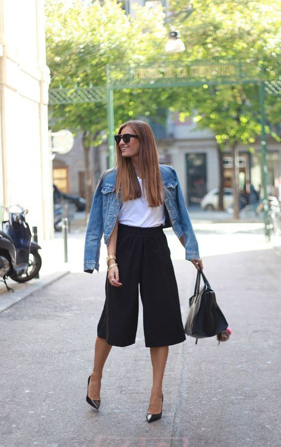 Culottes Outfit Ideas, Jean jacket