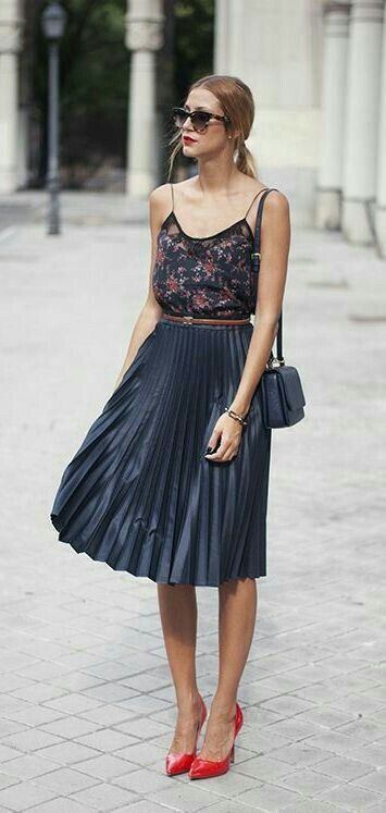 Pleated skirt summer outfit, Casual wear