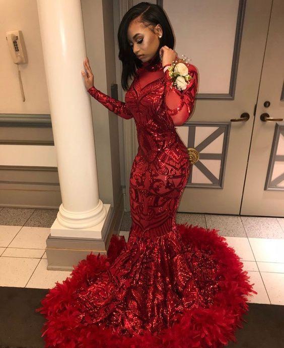 Long sleeve red mermaid prom dresses
