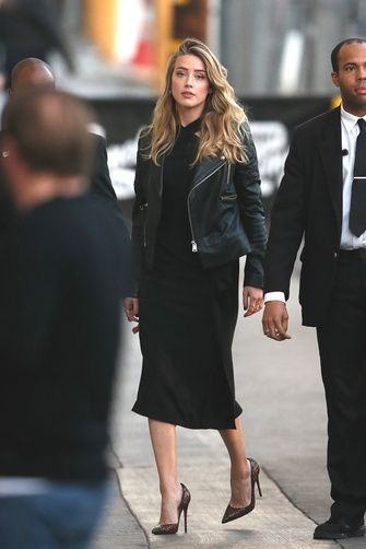 Winter celebrity street style black dress