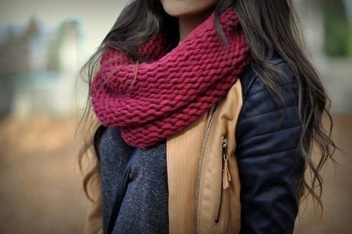 Great and nice scarf autumn, Leather jacket