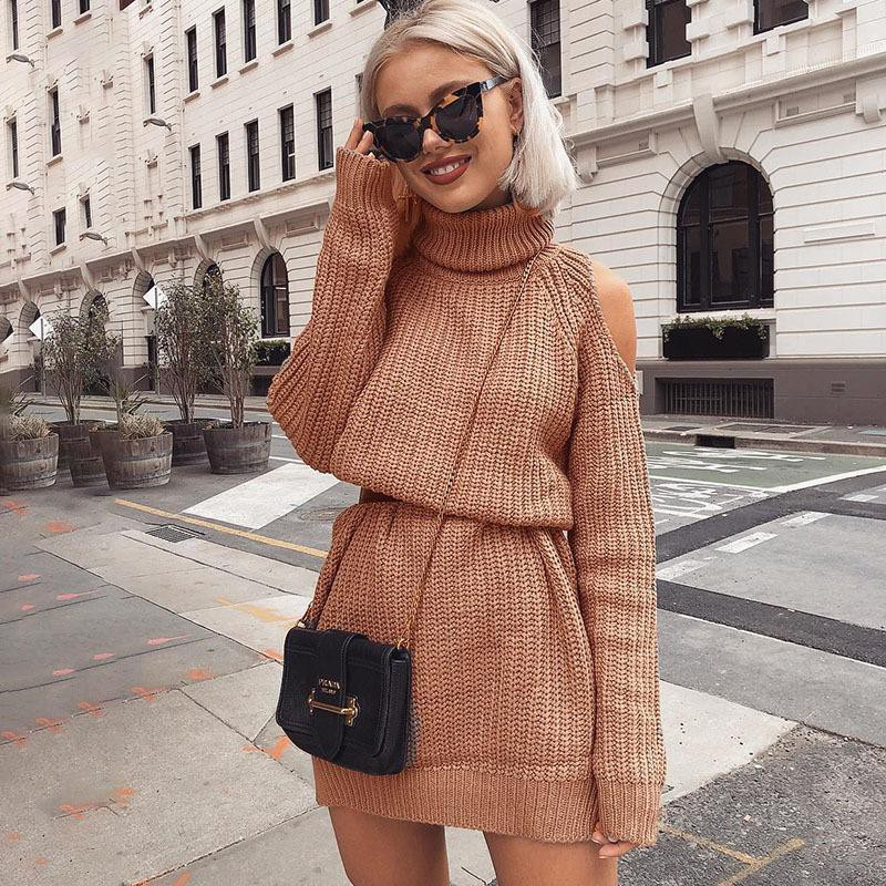 Knitted sweater dress street style
