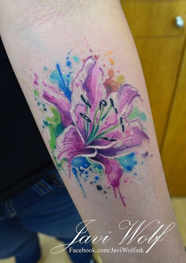 2019 best ideas for watercolor lily tattoo, Watercolor painting