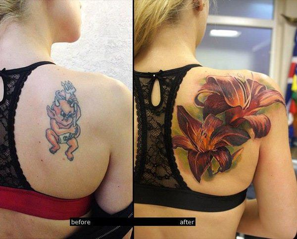 Covering up back tattoo, Lower-back tattoo