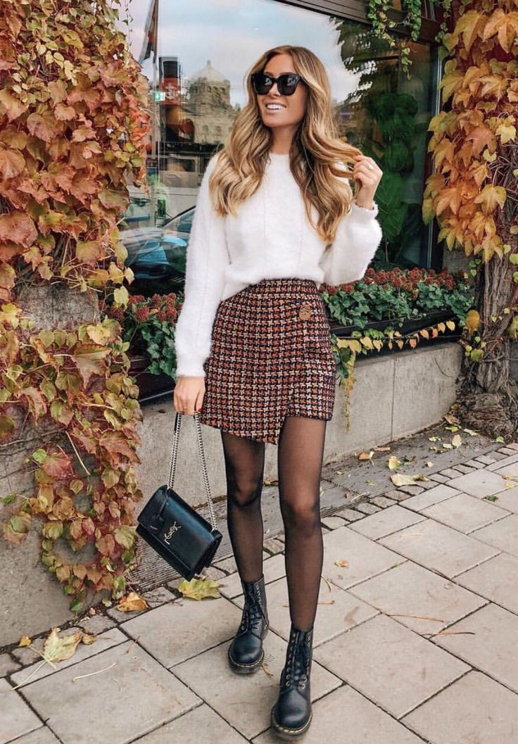 Street fashion Outfits With Tweed Wrap Skirts