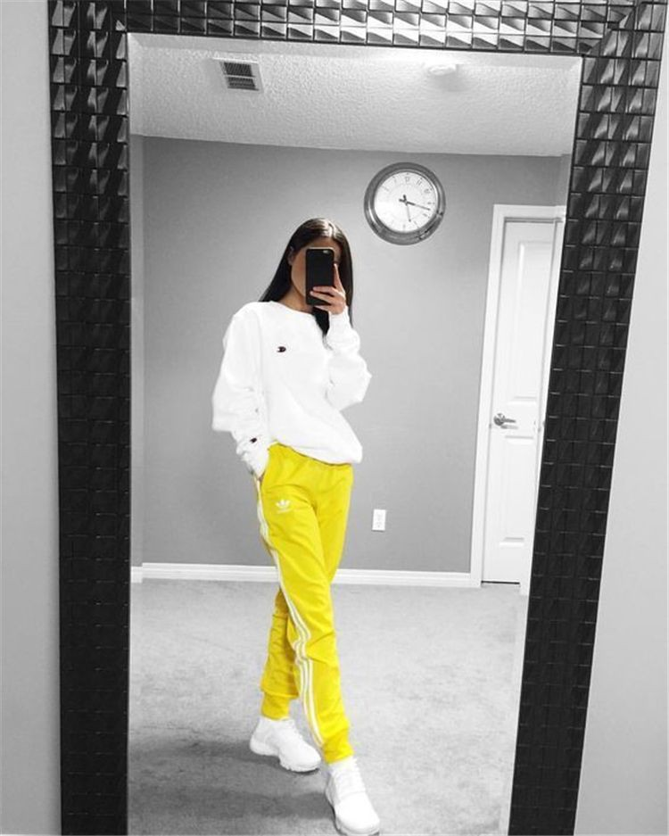 Best of all yellow adidas pants, Crop top