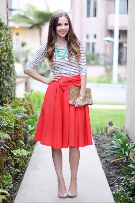 Red skirt and white top