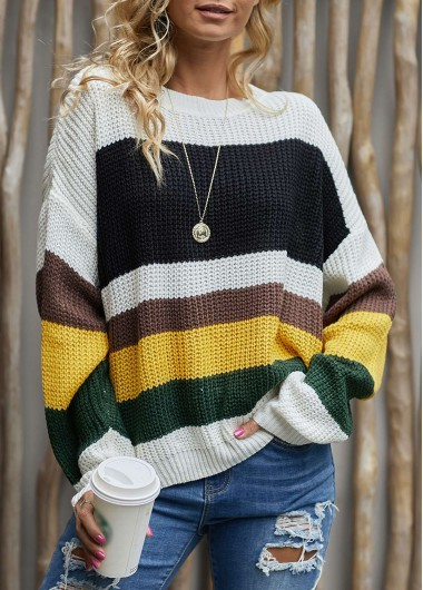 Women Color Block Sweaters outfit