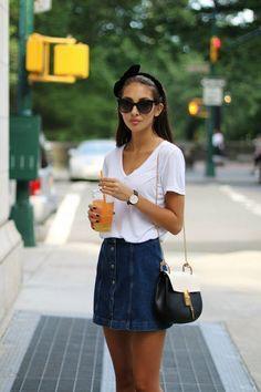 Casual jean skirt outfit, Denim skirt