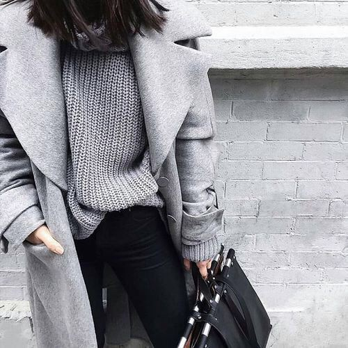 Grey wool coat outfit, Polo neck