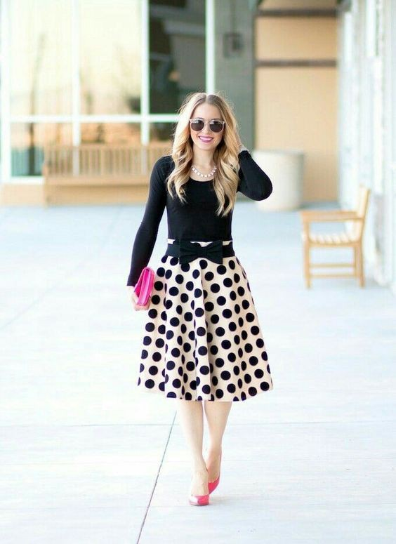 Outfits With Red Shoes, A-Line Midi Skirt, Polka dot