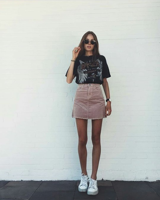 Skirt t shirt combo, Denim skirt