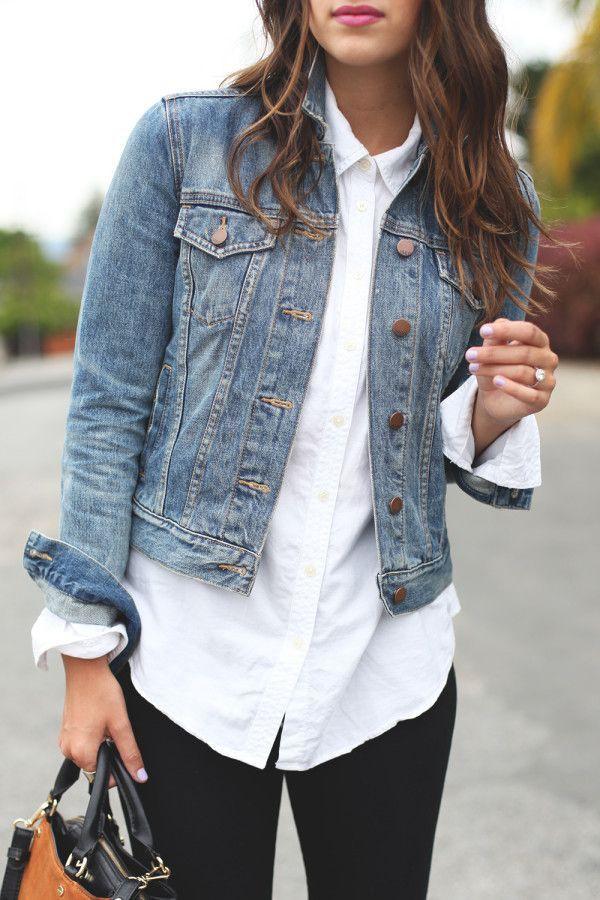 Blouse and denim jacket, Jean jacket
