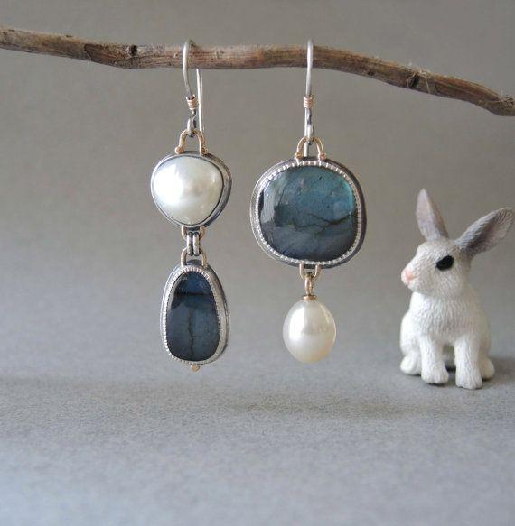 Asymmetrical Earrings Ideas, Jewelry design, Sterling silver
