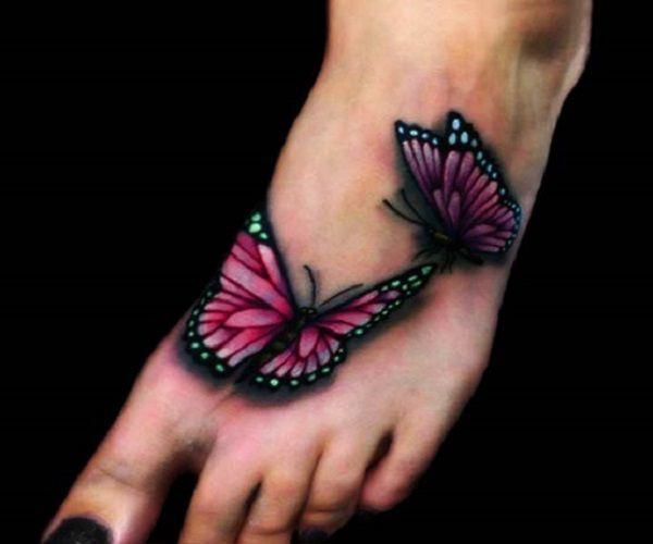 3d butterfly tattoos on foot