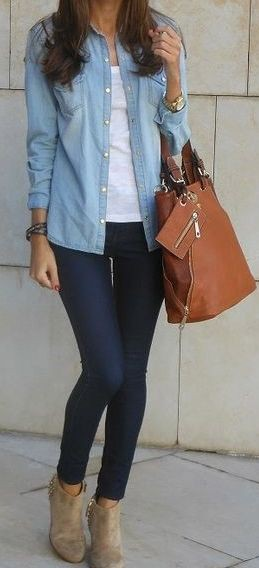 Light blue denim shirt outfit women