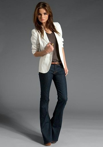 Boot cut jeans and blazer