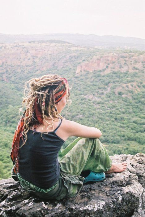 Dreadlock girl black and white Bohemia Hairstyle
