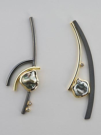 Black Asymmetrical Earrings Ideas, Jewelry design, Fashion accessory