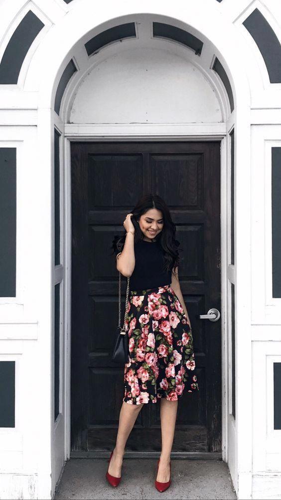 Winter Outfits For Church, Denim skirt, Floral Skirt