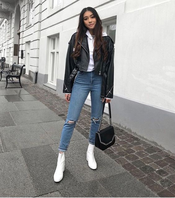 Perfect style for white boots outfit, Leather jacket