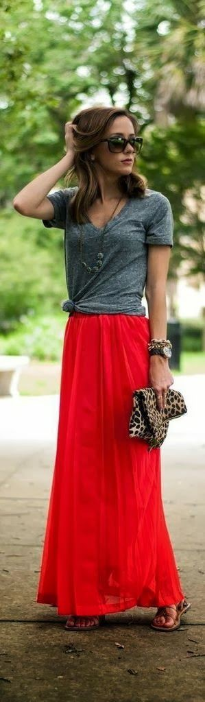 Casual maxi skirt looks, Casual wear