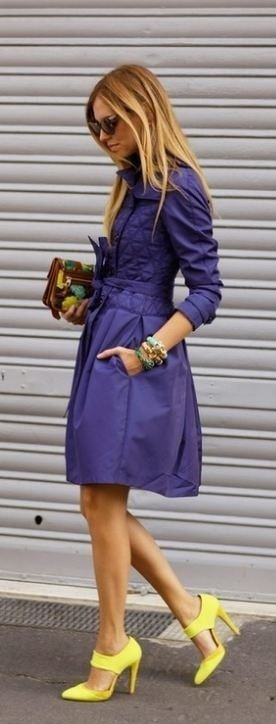 Yellow heels with purple dress