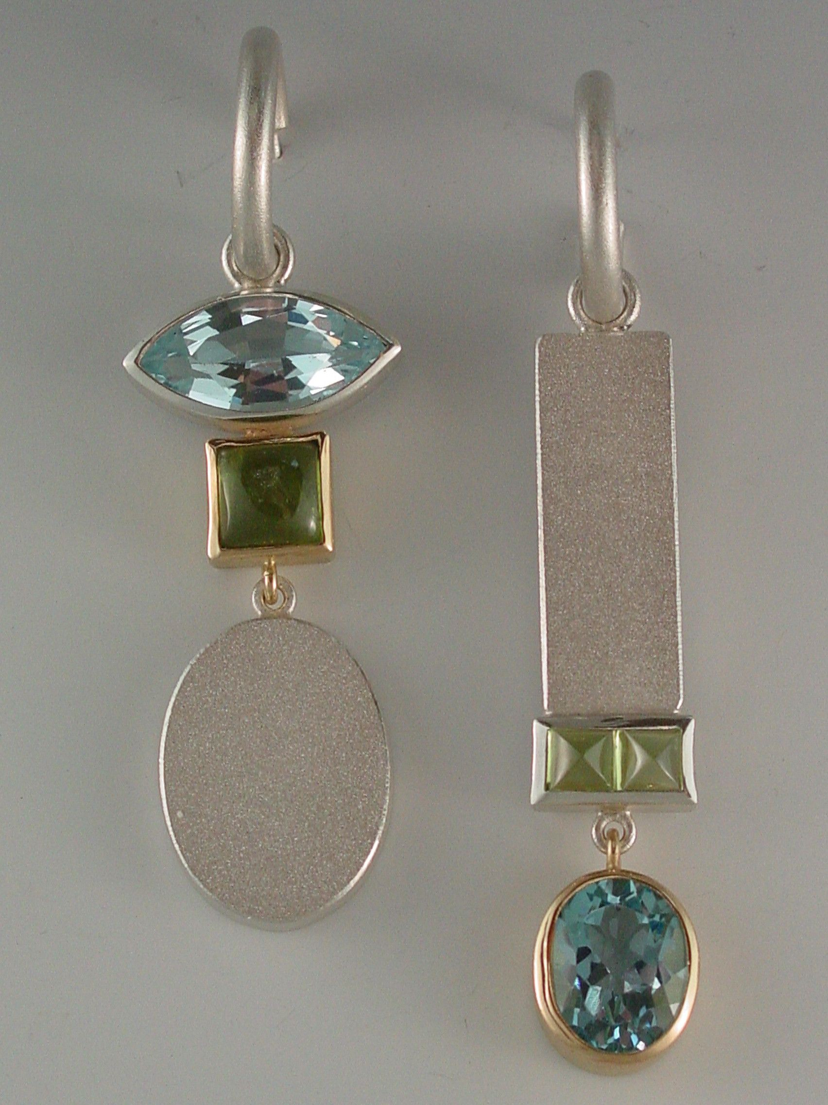 Matching Asymmetrical Earrings, Sterling silver, Costume jewelry