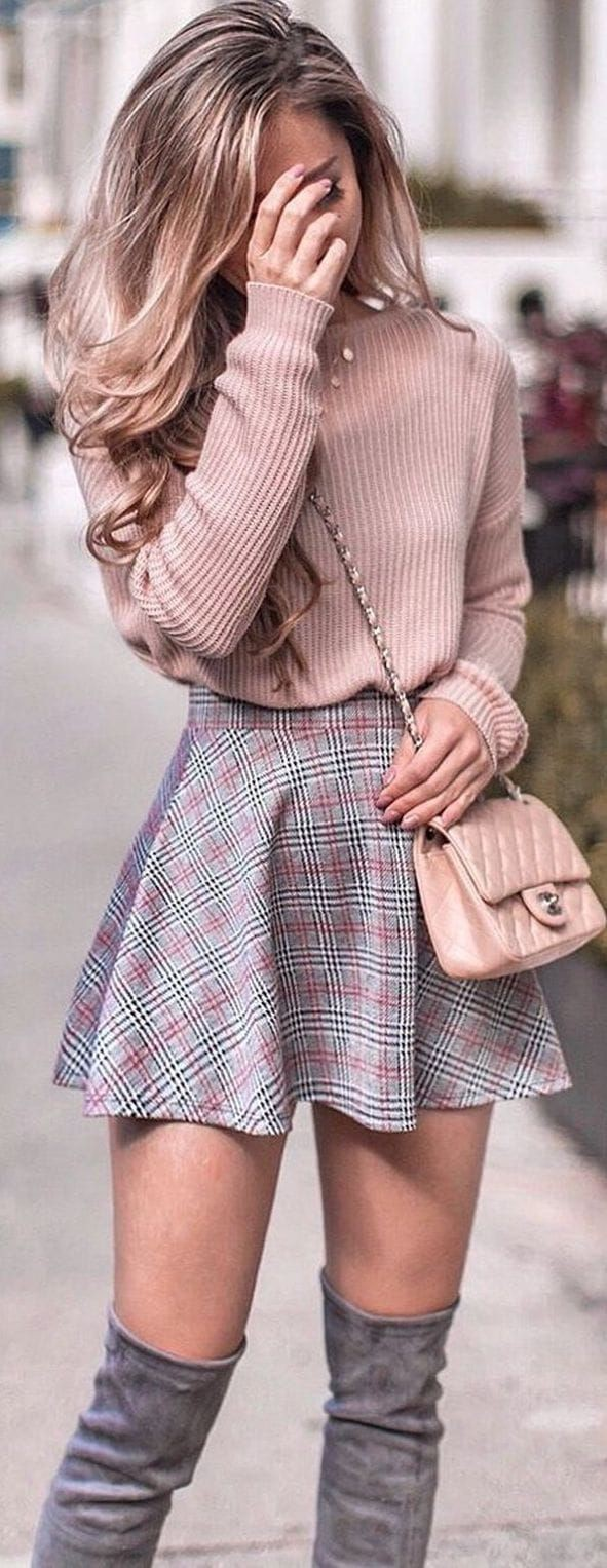 Pretty ideas for winter skirt outfit, Casual wear