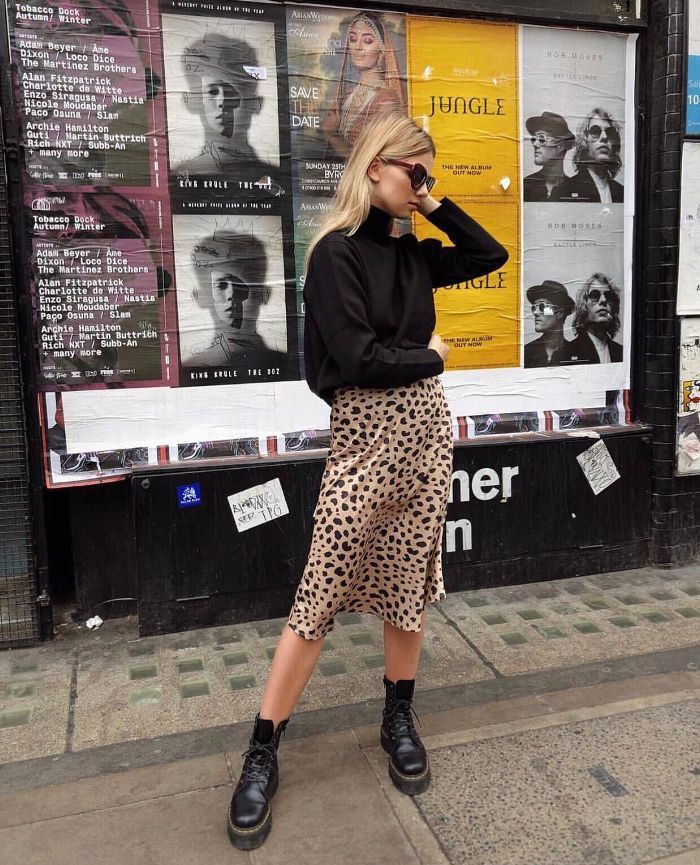 Leopard print skirt and boots
