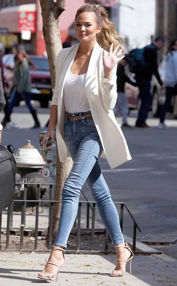 Long white blazer outfits, Casual wear