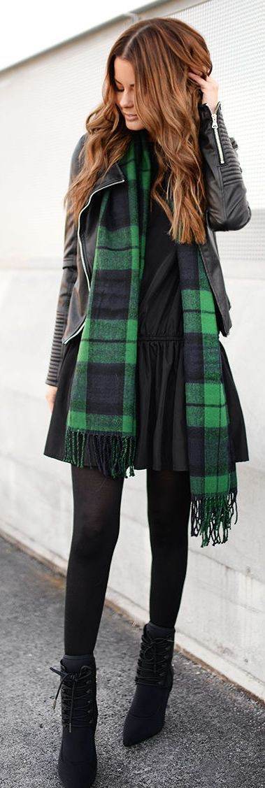 Green plaid scarf outfit, Leather jacket