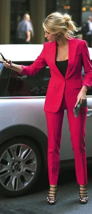 Blake lively fuschia suit
