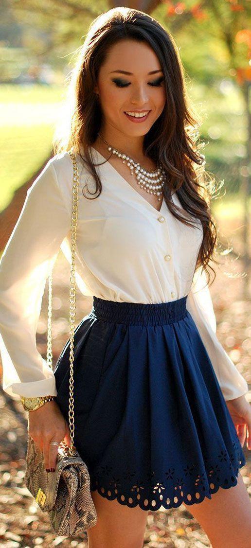 Short blue skirt outfit, Skater Skirt