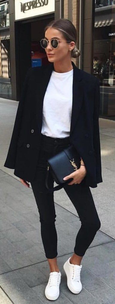 Sneakers and blazer woman, Casual wear