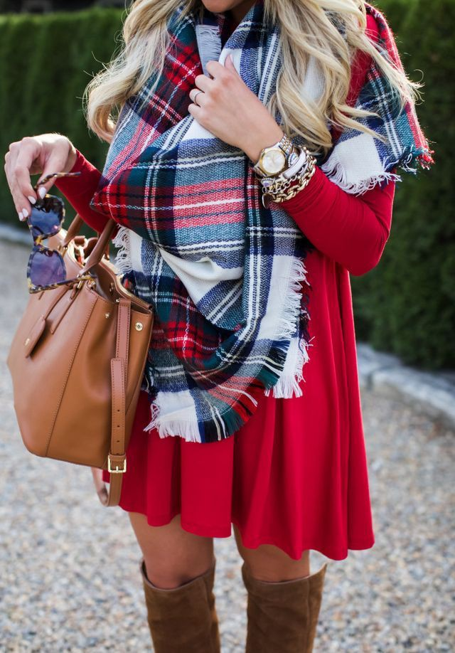 Great outfit ideas to try christmas plaid scarf, Over-the-knee boot