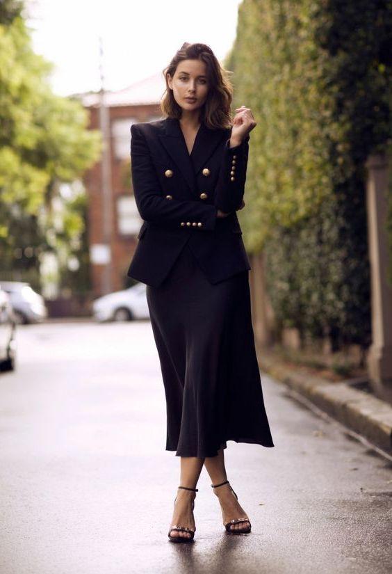 Slip dress with blazer, Slip dress