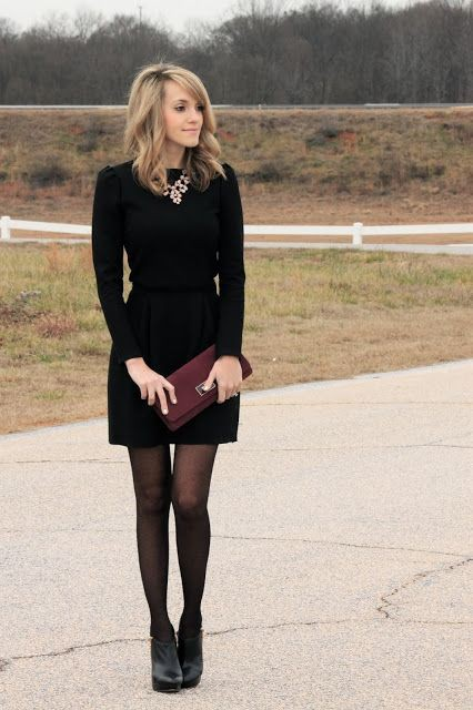 Black dress with tights, Party dress