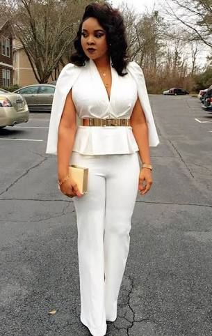 Girly collection of african white jumpsuits, White Cape Blazer