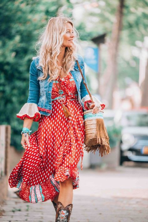 Boho dress with jeans jacket