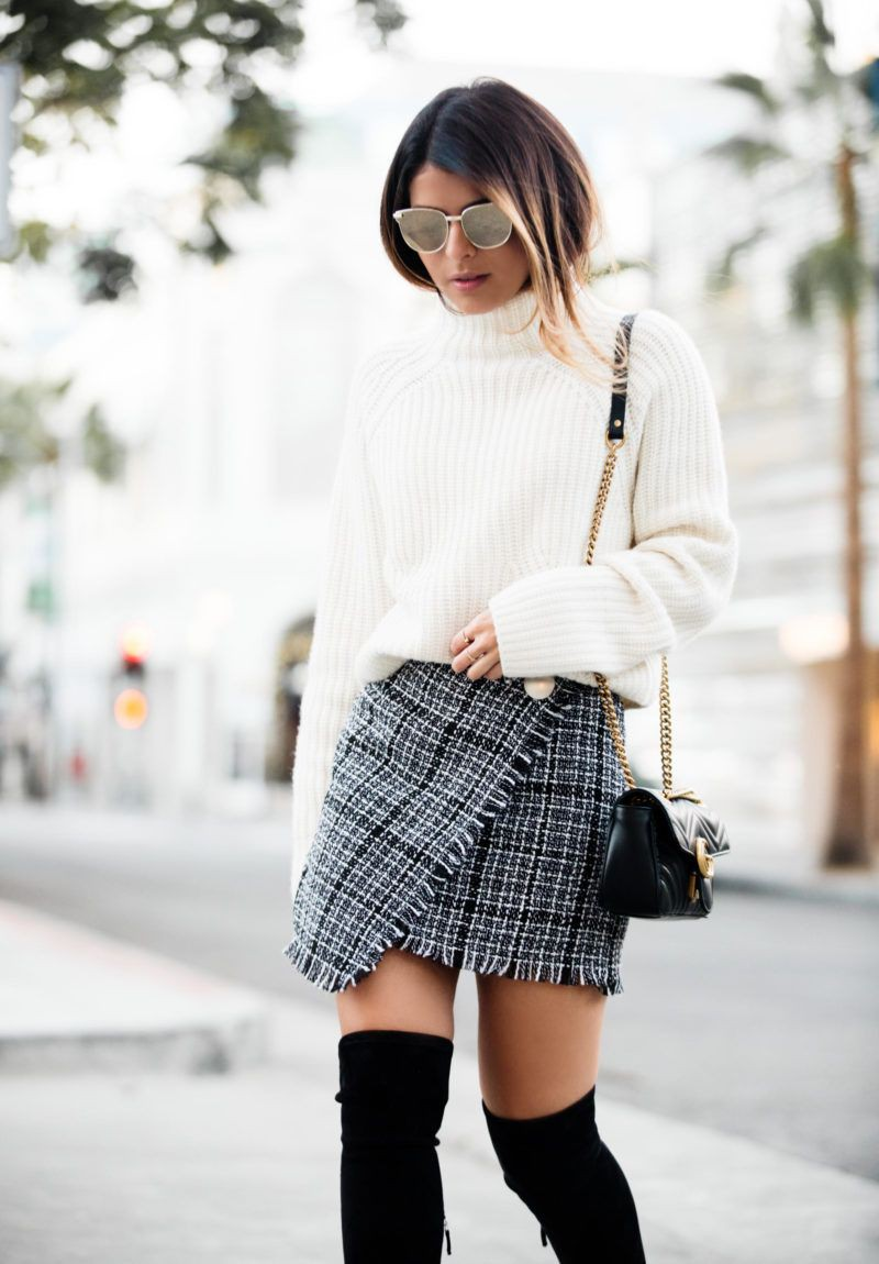 Really cute and adorable tweed skirt outfit, Winter clothing