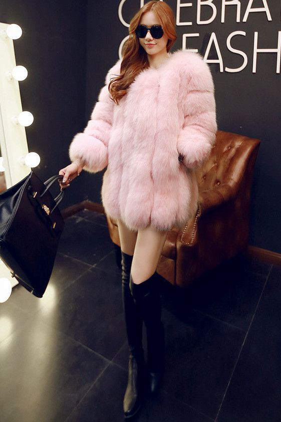 Faux Pink Fur Coats Outfits, Fur clothing