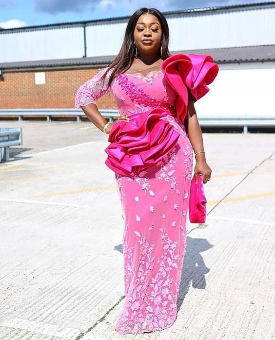 Stylish Pink Aso Ebi Styles, African wax prints