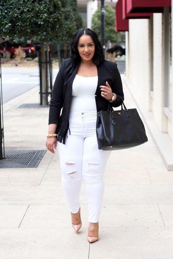 Outfit plus size de pantalon blanco