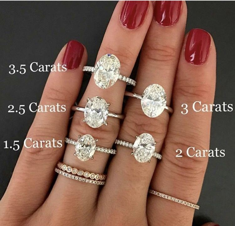 Classic look oval carat comparison, Engagement ring