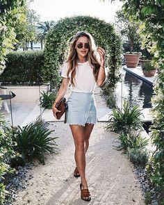 Trendy jean skirt outfit, Denim skirt