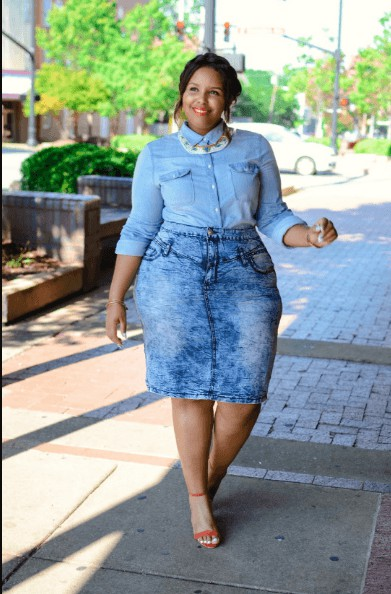 Fashion plus size denim skirt