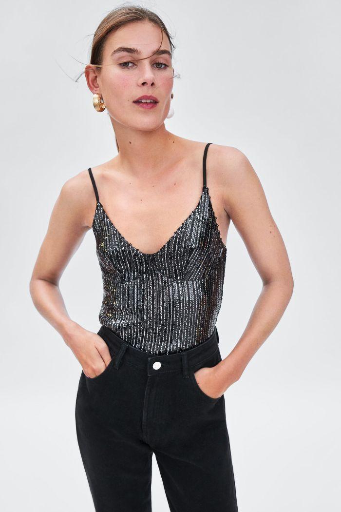 Zara sequin cropped top, Crop top