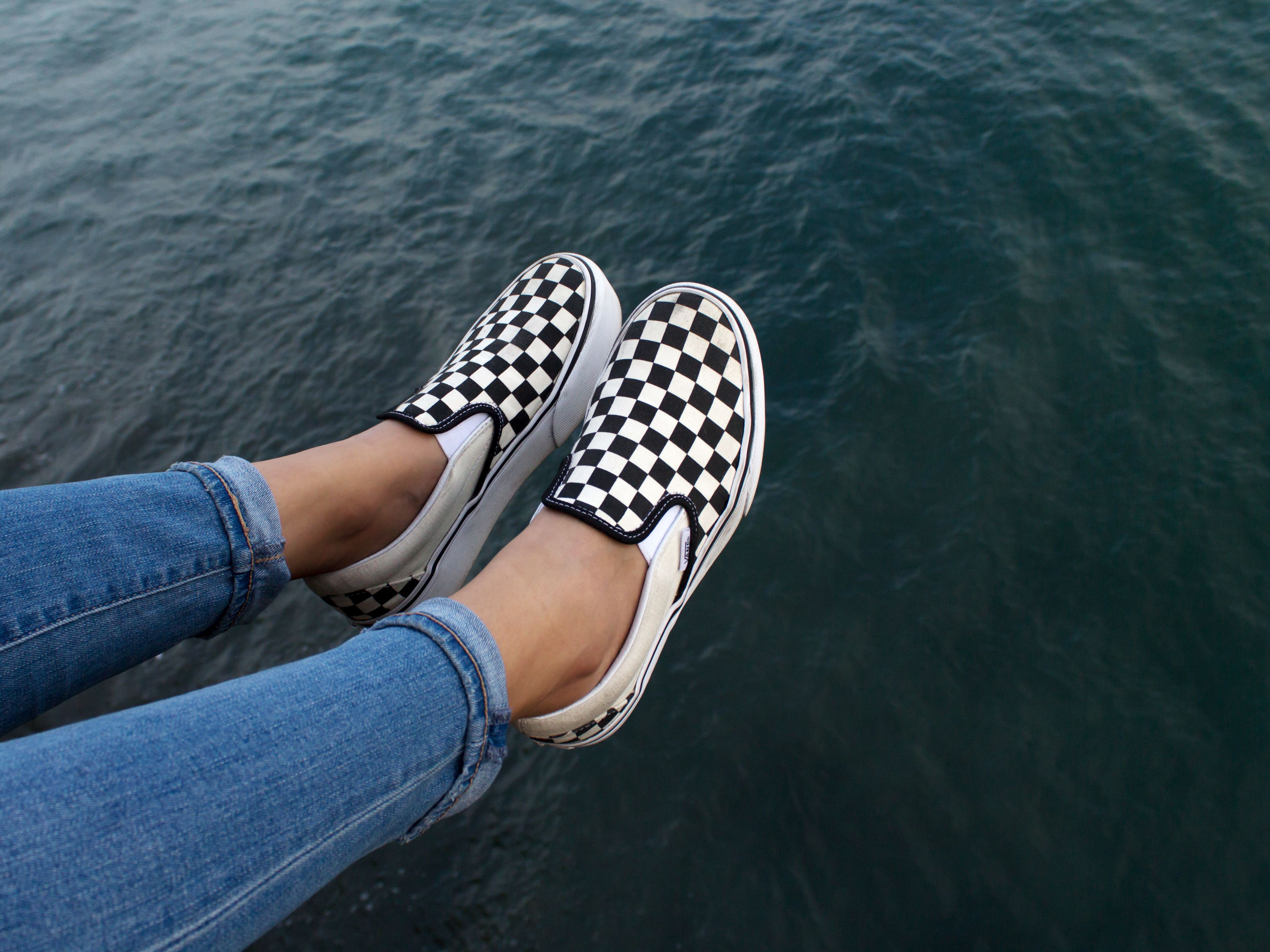 Checkered slip on vans outfits